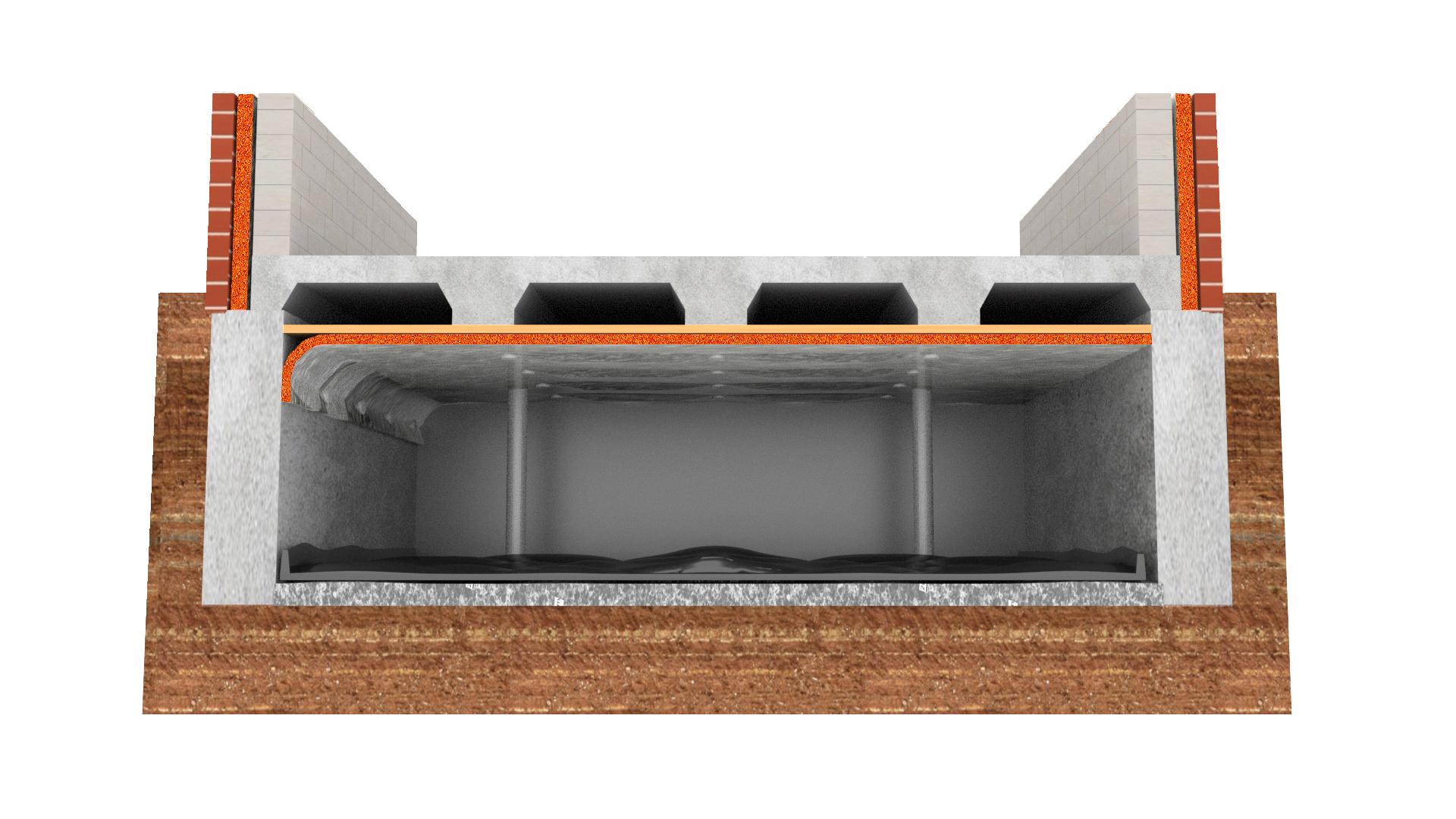 betonnenvloer met bodemfolie bewerkt transparent